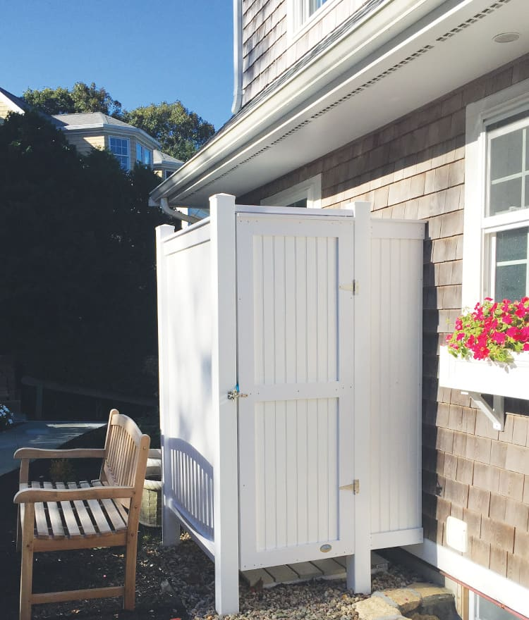 PVC Outdoor Shower | Standard House Mount | CapeCodShowerKits.com