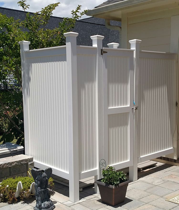 PVC Outdoor Shower Enclosure | CapeCodShowerKits.com